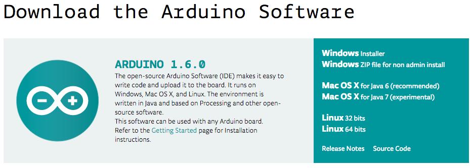 Arduino IDE 1.6.0下載網頁