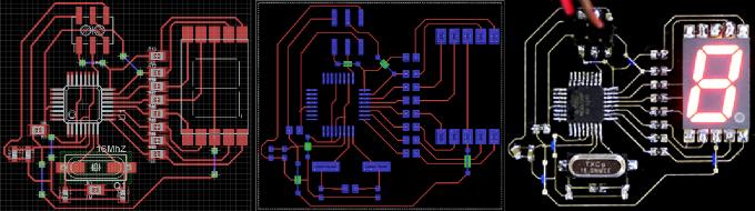 左圖:Eagle設計圖:中圖:Voltera軟體預視圖;右圖:列印成品