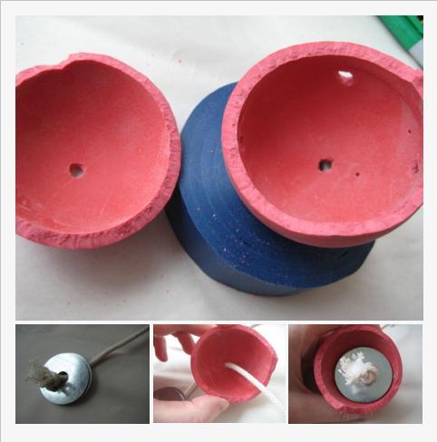 步驟3 - 將繩子和墊圈於空心橡膠球內組裝好