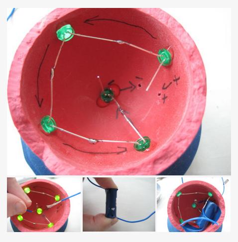 步驟4-把LED燈焊接在空心橡膠球上