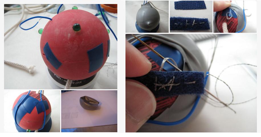 步驟5-黏好橡膠球後在外套上氣球,並用電線連接好控制LED燈的開關