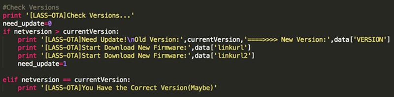檢查是否需要更新版本(註:一般要把版本資訊變數放在其他地方)