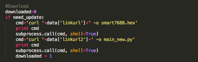 如果需要更新,透過curl外部指令來下載所需要檔案