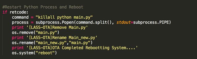 kill主程式並且置換新的主程式檔案後重新啟動系統