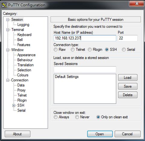打入IP位置,使用PuTTy連線