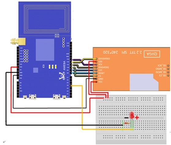 用Ameba控制LCD的佈線圖