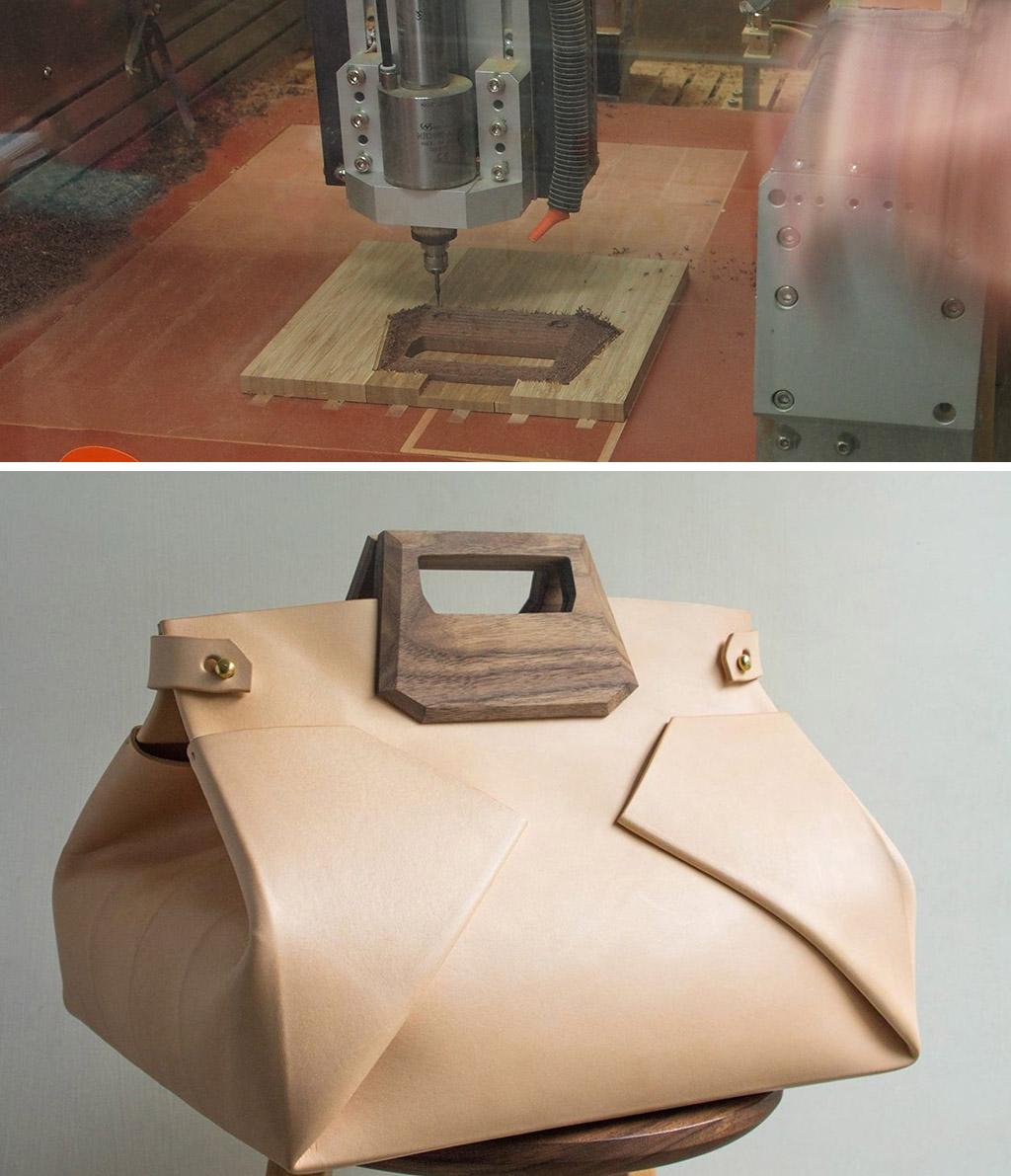 上圖為CNC加工木質手把,下圖為皮革結合木質手把的高質感作品(下圖圖片來源)
