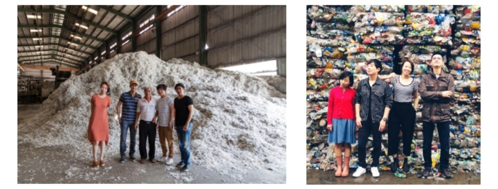 REnato實地拜訪不同類型的回收處理廠(左圖為紙容器處理廠;右圖為塑膠處理廠)