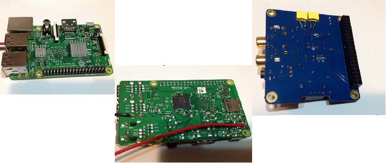 硬體安裝及修改:Raspberry Pi 3B 加散熱片(左),Raspberry Pi 3B 改電源輸入(中),Pifi DAC 加電容(右)