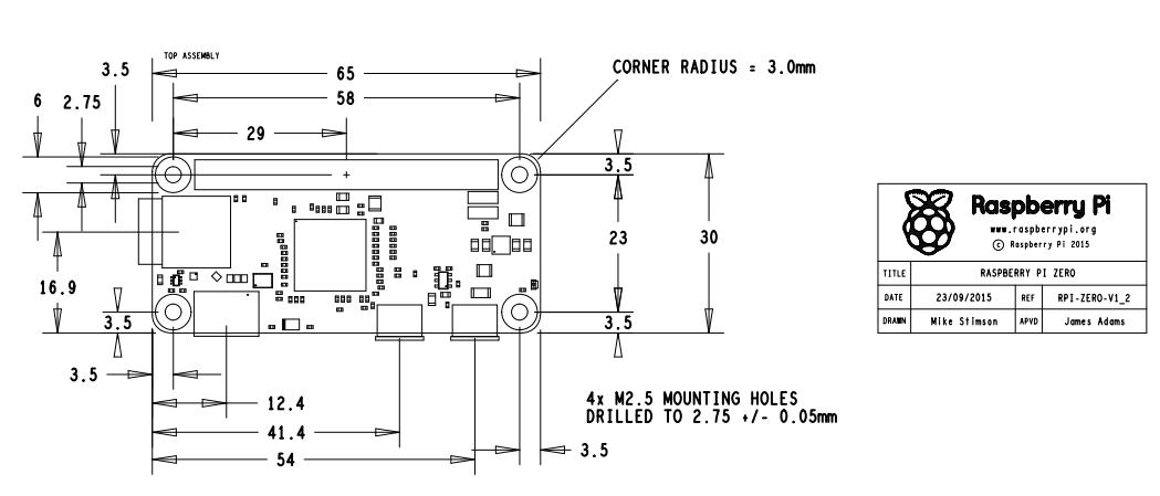 Pi Zero 1.2版機構圖
